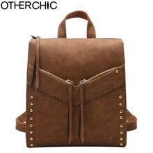 Otherchic Мода ретро женщины рюкзак с заклепками Высокое качество нубук винтажные Рюкзаки для teenag девочек SAC DOS L-7N07-63