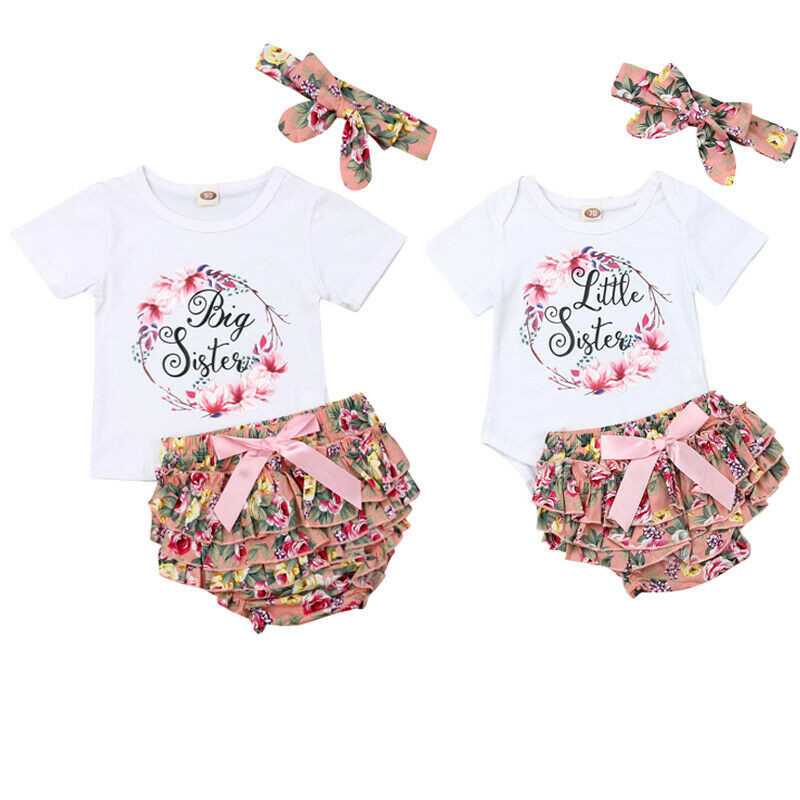 Kids Toddler Baby Girls Outfit Little Big Sister Matching Romper T-Shirt Skirt Short Pants Clothing Set