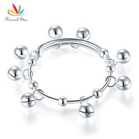 Peacock Star Solid 990 Silver Bells Bangle Bracelet Baby Kids Children Gift Adjustable Size CFB8003
