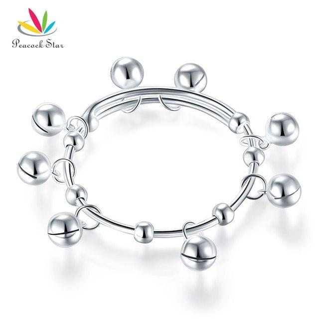 Solid 990 Silver Bells Bangle Bracelet  Baby Kids Children Gift Adjustable Size CFB8003