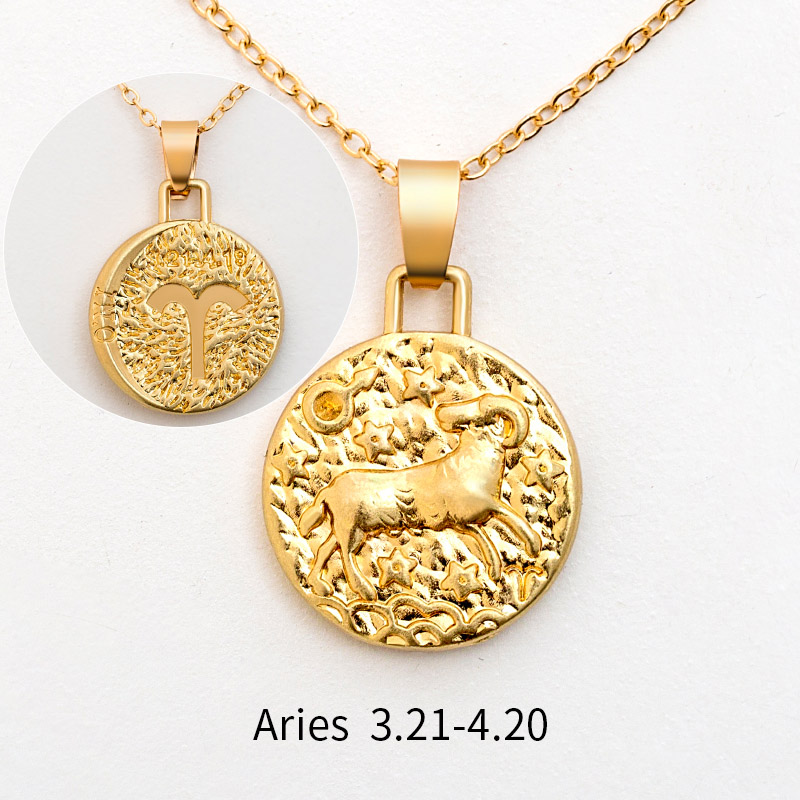 12 Constellation Jewelry Necklace Gold Virgo Libra Scorpio Sagittarius Capricorn Aquarius Zodiac Necklace Circle Pendant bijoux 21
