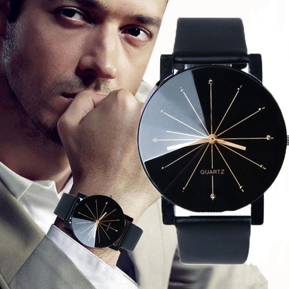 Couple Star Dial Faux Leather Quartz Analog Wrist Watch Valentine's Day Gift
