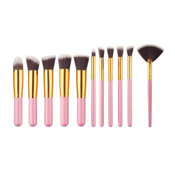 10 Pcs Silver/Golden Makeup Brushes Set pincel maquiagem Cosmetics  maquillaje Makeup Tool Powder Eyeshadow Cosmetic Set 1
