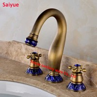 Luxury Blue Crystal Cold hot Water Deck mounted Widespread Antique Brass 3Pcs Bathroom Faucet Lavatory Basin Sink Mixer Tap