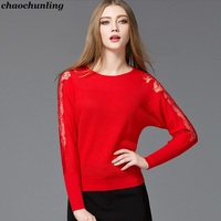 2017 New Autumn And Winter Lady Sexy Lace Pullovers O Neck Bat Sleeve Women Hollow Knitted