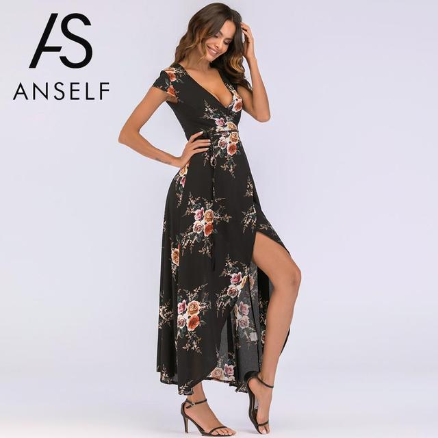 4e8ed940a94e 2019 Summer Beach Bohemian Long Dress Women Floral Print Maxi Dress  Wraparound V Neck High Waist