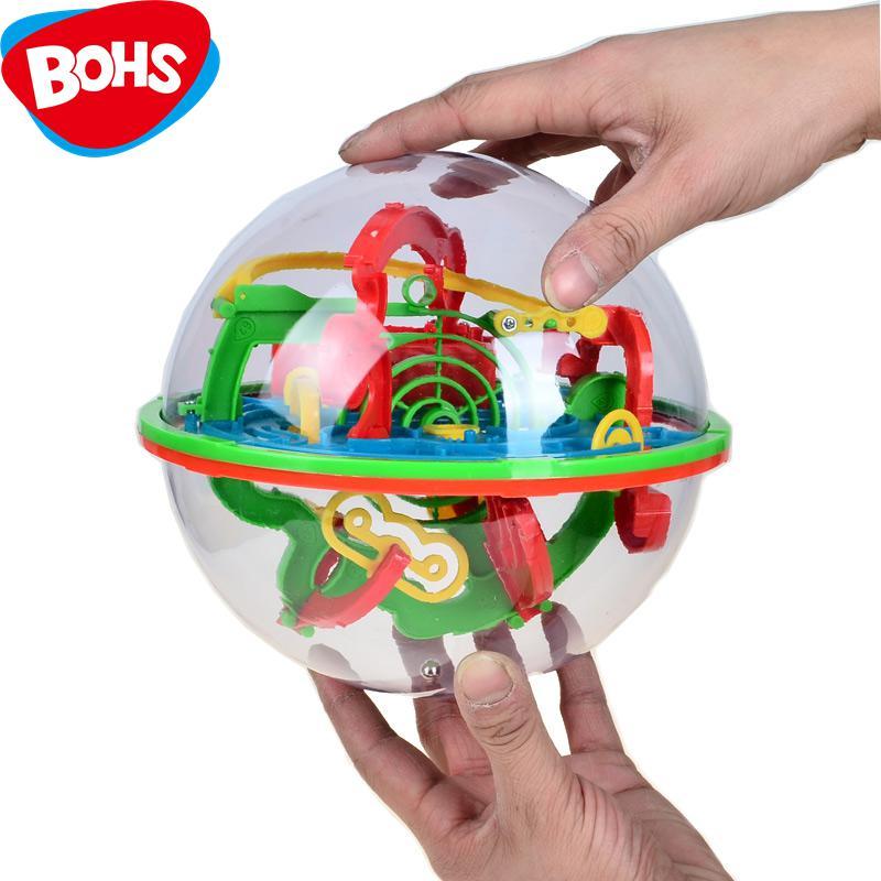 BOHS 100 Steps Small Big Size 3D Labyrinth font b Magic b font Rolling Globe Ball