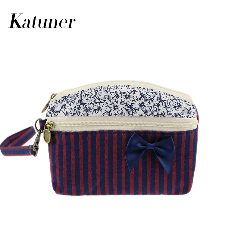 Katuner Cute Wallet Kids Striped Bow Coin Purse For Girls Canvas Coin Pouch Double Zipper Women Clutch Purse Porte Monnaie KB036