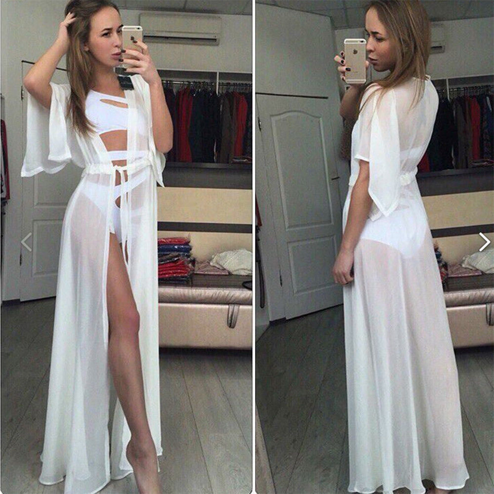 Beach Cover up Solid long Bikini Cover up Tunic for Beach Swimsuit cover up 3