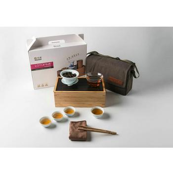 """King Tea Mall"" Portable Tea Sets with Bamboo Tea Ware Box for Chinese Gongfu Chadao, Teasets, Teatools, Teaware Gifts,"
