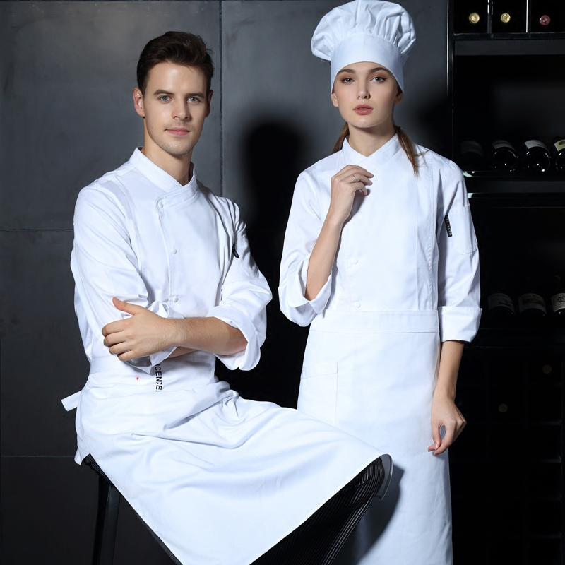New Unisex Bakery Cook Uniform 3 Colors Long Sleeve New Restaurant Chef Uniforms Work Wear Hotel Cook Clothes LCMH29