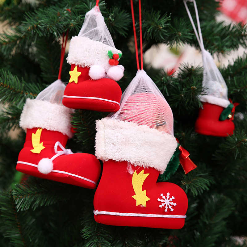 Christmas Decorations Tree Pendants Santa Claus Boots Xmas Candy Bag Gift Holders Christmas Hanging Ornaments