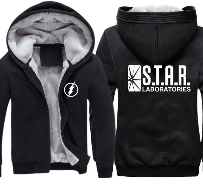 The Flash super man Barry Allen Laboratories Star Labs Menst winter thickenCosplay Costume fleece Hoodie Jacket coat