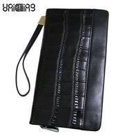 Luxury Fashion Male Clutch Wallet Phone Bag Crocodile Pattern Genuine Leather Men Clutch Bags Super Soft