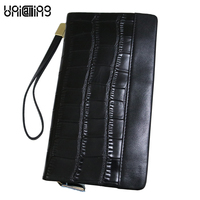 Luxury Fashion Male Clutch Wallet Phone Bag Crocodile Pattern Genuine Leather Men Clutch Bags Super Soft