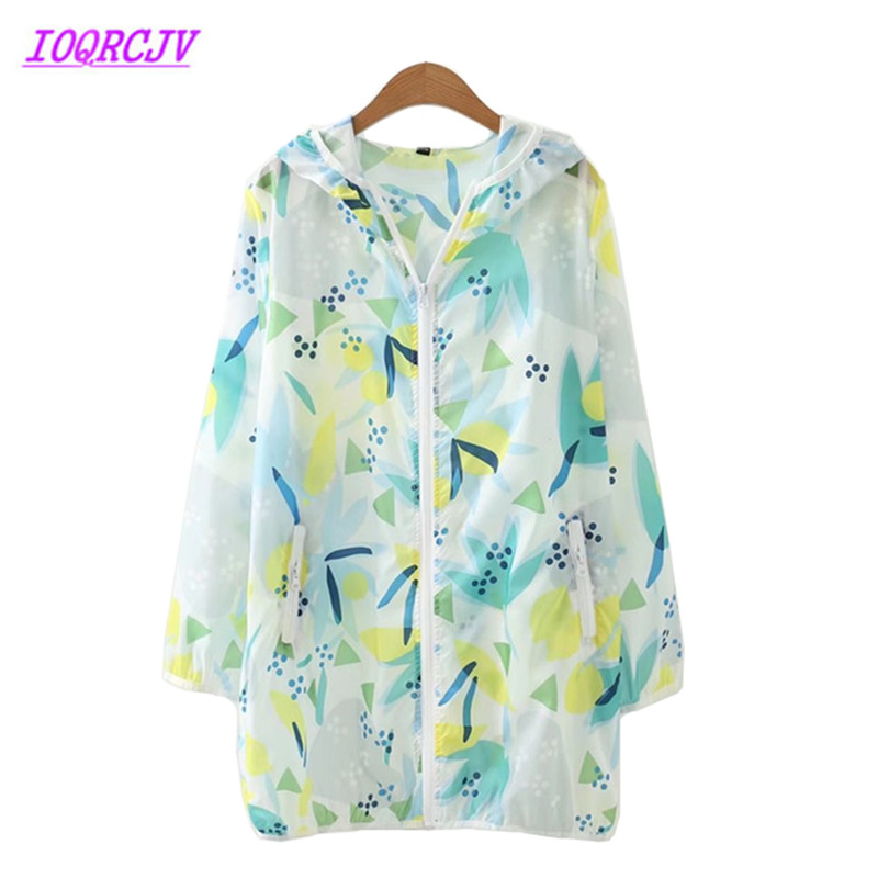 Plus size 4XL Summer Women Sun protection clothing 2018 New Hooded Printed   Trench   Coat Loose Thin Outerwear Female IOQRCJV H169