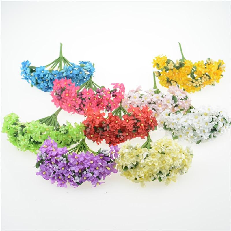 12 шт. Мини Шелковый тычинки сливы Handmake искусственные букет Свадебные украшения DIY ВЕНОК подарок Скрапбукинг Craft поддельные цветок
