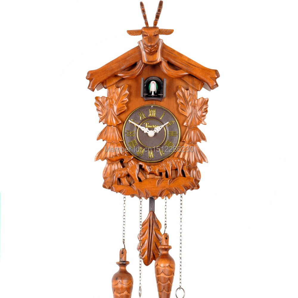 Vintage handcrafted solid wood cuckoo clock with cuckoo chime pinecone pendulum in wall clocks - Cuckoo pendulum wall clock ...