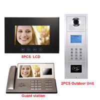 7 Inch LCD Monitor Digita Multi Apartment Building Video Doophone Intercom System 2 Alloy Collor HD
