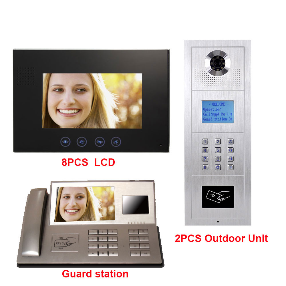 7 Inch LCD Monitor Digital Multi Apartment Building Video Doorphone Intercom System Alloy Color HD IP55 Waterproof Camera 8 LCD