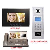 7 zoll LCD-Monitor Digital Multi Apartment Building Intercom System Legierung Farbe HD IP55 Wasserdichte Kamera 8 LCD