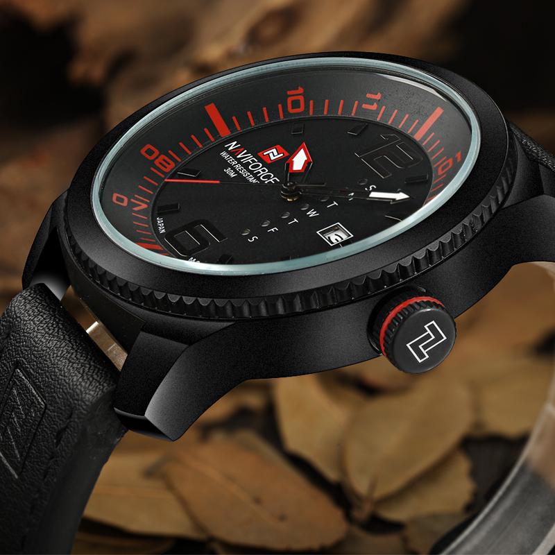 Prix pour Montres Hommes NAVIFORCE Marque En Cuir Armée Militaire Montres Hommes de Quartz Heure Horloge Montre Sport Montre-Bracelet relogio masculino