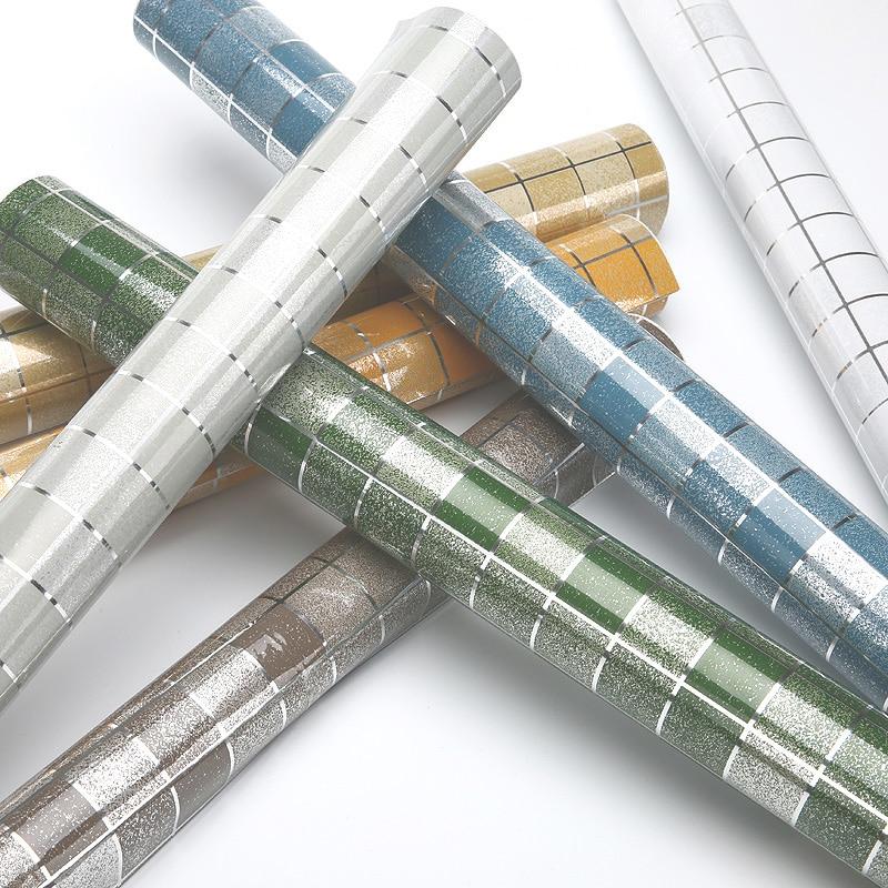 Moderne Badezimmer Wasserdichte Mosaik Vinyl PVC selbstklebende Anti Öl Küche Tapete Hitzebeständigkeit DIY Wohnkultur Wandaufkleber