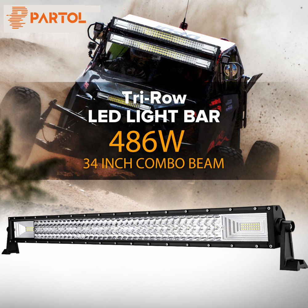 Partol 34 486W Tri-Row LED Light Bar Spot Flood Combo Beam Offroad Work Light 4WD 4x4 LED Bar for Jeep Camper Trailer 12V 24V partol 240w 22 tri row led work light bar offroad led bar spot flood combo beam truck suv atv 4x4 4wd driving lamp 12v 24v