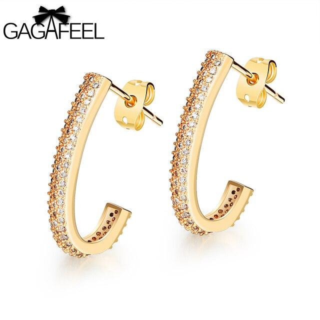 Gagafeel Women Earring Stud Earrings J Type Micro Zircon Gold Color Cooper Vintage Jewelry Silver