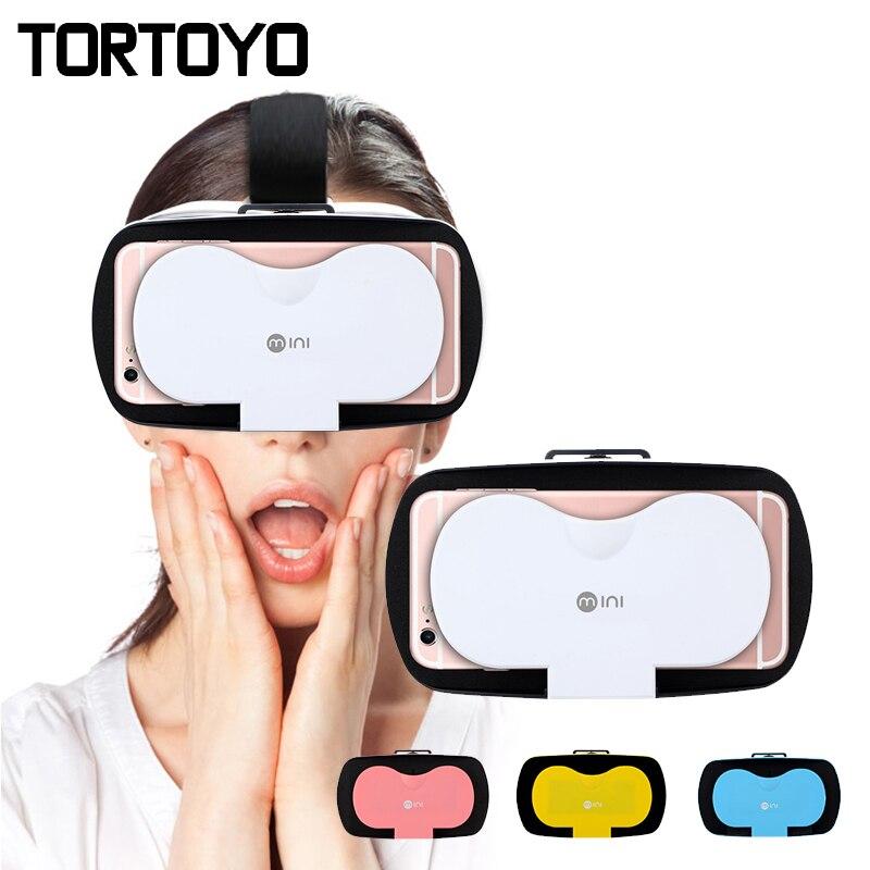 Mini 3D VR Lunettes Lunettes de Réalité Virtuelle Tête Mont Casque VR Casque Google Carton Pour 4.7-6.0 pouce Téléphone jeu Vidéo
