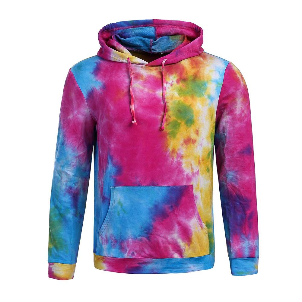 Spring Autumn Thin Colorful Tie Dye Hooded Hoodies Men/women Sweatshirts With Cap Print Oil Printing Hoody Pockets Hoodies