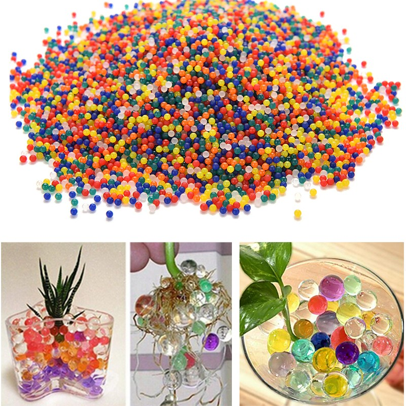 100pcs paintball Pearl Shape Soft Crystal Soil Mud Kids Toy Grow Water Balls Hydrogel Gel Water Beads Plant Cultivate Home Decor