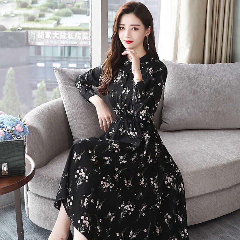 Осень зима черный винтажный цветочный принт шифон повседневные платья миди плюс размер платья Boho 2019 весна корейских элегантных женщин ну вечеринку с длинным рукавом платье Vestidos