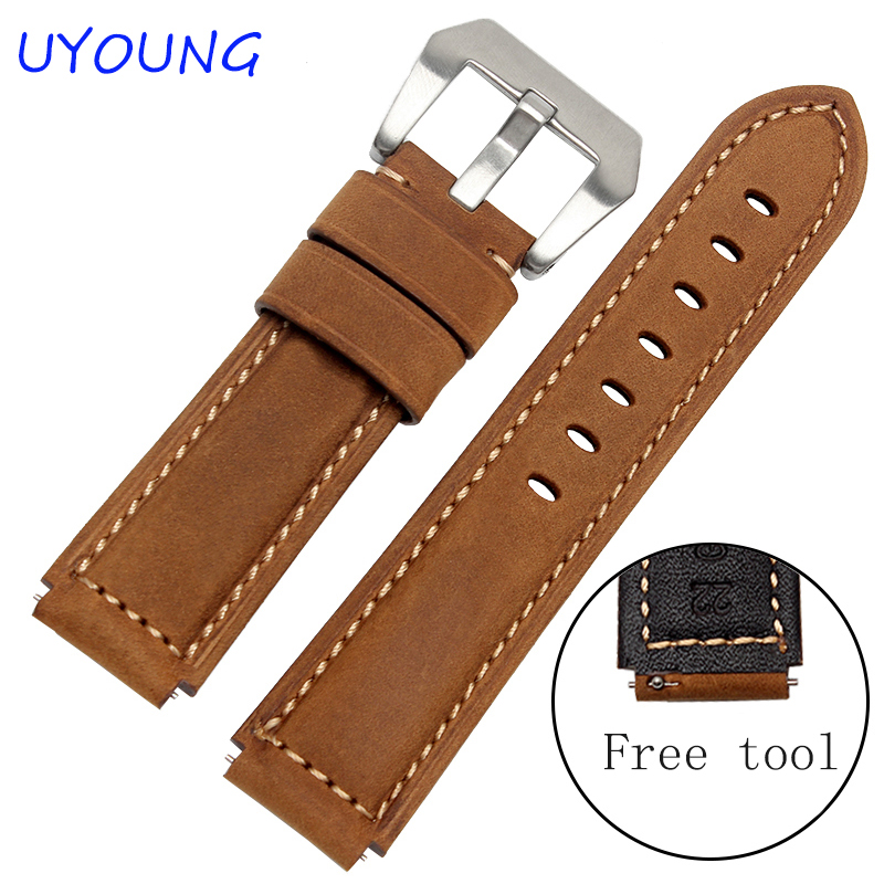 все цены на Quality Genuine Leather Watchband 22*18mm For Huawei watch Scrub Leather Strap Mens Smart watches accessories онлайн