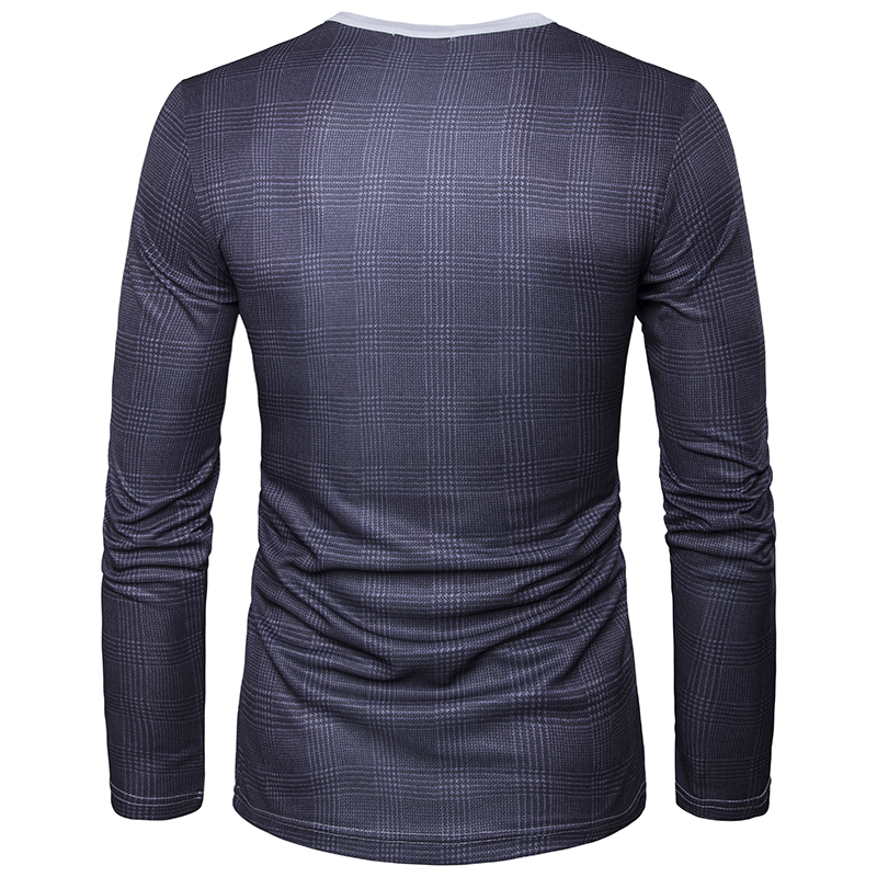 2018 New Men Long Sleeve T-Shirt O Neck Man Udskrivning Falsk Suit - Herretøj - Foto 2