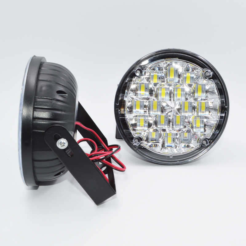 2PCS Bright White 18 LED Round Day Fog Light Head Lamp Car Auto DRL Driving Daytime Running DRL Car Fog Lamp Headlight