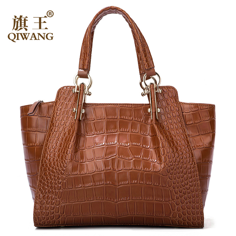 Qiwang Kate Ladies Hand Bags Authentic Cowhide Brown Bag Women Crocodile Leather Large Handbag Fashion Luxury