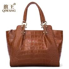 Qiwang Kate Ladies Hand Bags Authentic Cowhide Brown Bag Women Crocodile Leather Large Handbag Fashion Luxury Tote Shoulder Bags недорого