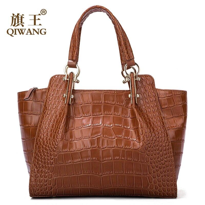 Qiwang Kate señoras bolsos de mano auténtico de cuero de vaca marrón bolso de mujer de cuero de cocodrilo Bolso grande de moda de lujo bolsos de hombro-in Cubos from Maletas y bolsas    1