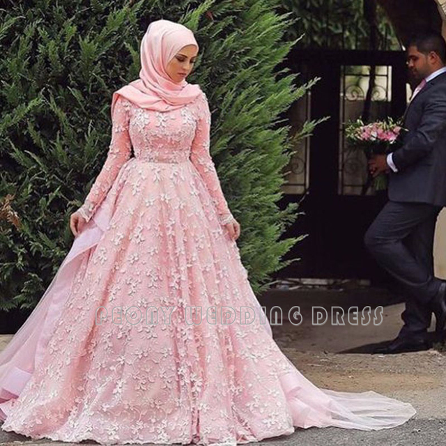Romantic Pink Lace Muslim Wedding Dresses Long Sleeve Ball Gown
