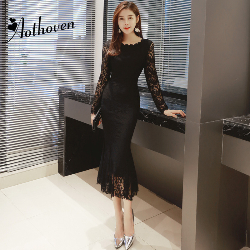 Spring Black White Mermaid Dresses O Neck Long Sleeve Ruffle Dress Women Office Bodycon Sexy Party Midi Ladies Sundress Vestidos цена