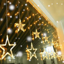Christmas ornaments light LED Star AC 220V / 3AA Battery Box Light Star Curtain String New Year New Year's Decorations for Home(China)