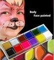 Festival de la Copa del Mundo de pintura de cuerpo jugar payaso Halloween maquillaje cara pintura Color 12 Cuerpo cara pintada hacer tatuaje Flash cepillo