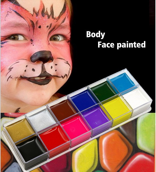 festivalen World Cup kroppsmålning lek clown Halloween smink ansiktsfärg 12 Färg Body ansikte målade Make up Flash Tattoo borste