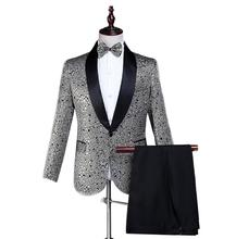 Blazer men groom suit set with pants mens wedding suits costume singer star style dance stage Pattern clothing formal dress jacket pants red man s suit groom dress singer master of ceremonies host stage show serve clothing mens suits wedding
