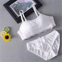 Autumn White Girls Underwear Bra Wireless Thin Stomacher Type Anti Gather Lace Suit Solid Color Laces Underwear for Girls