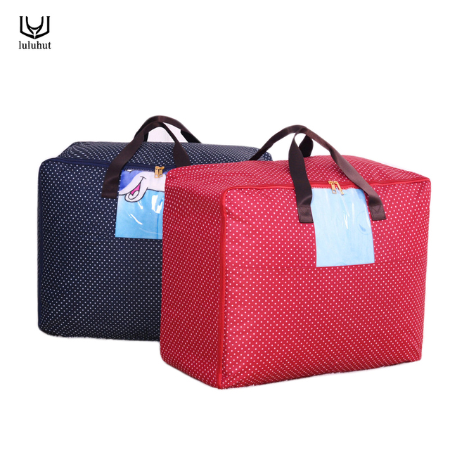 Luluhut Storage Bag Oxford Quilt Organizer Blanket Functional Holder With Handle Foldable Zipper Home