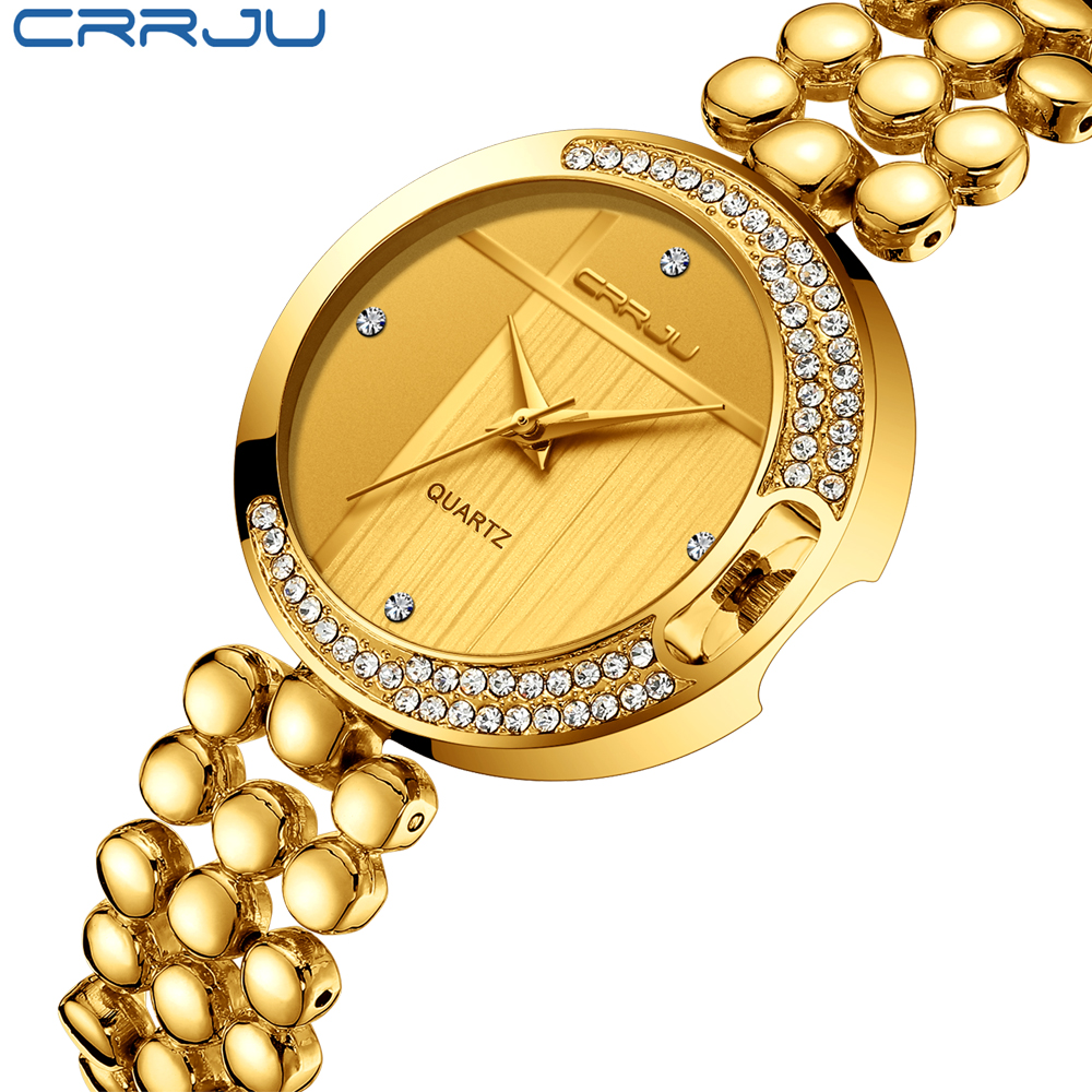 CRRJU Famous Gold Rhinestone Quartz Watches for Women Waterproof Ladies Crystal Diamond Luxury Wrist Watches Relojes Mujer watche women stainless steel band ladies crystal diamond quartz watch luxury rose gold wrist watches relojes mujer
