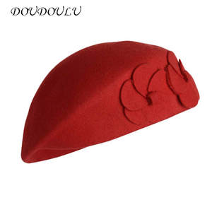 7a5f8459e5f KLV Women French Caps Felt Vintage Hat Ladies Berets