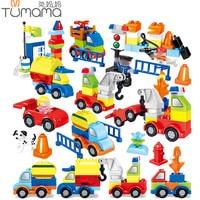 Tumama 125pcs Trucks Cars Model Blocks Figures Parts Compatible Legoed Duploe Educational Diy Bricks Toys For Children Big Size